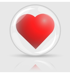 3d red heart in glass ball vector