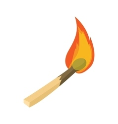 Burning match icon cartoon style vector
