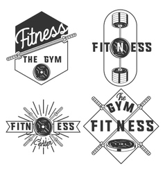 Vintage fitness gym emblems vector