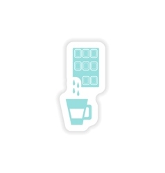 Paper sticker on white background cup hot vector