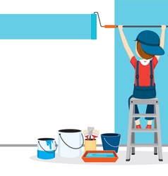 Painter coloring wall by paintroller vector