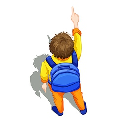 A topview of a boy with a blue backpack vector image vector image