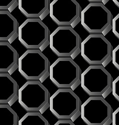 Abstract silver 3d hexagon seamless pattern vector