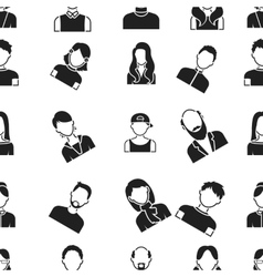 Avatar pattern icons in black style big vector
