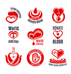 Blood donation icon with red heart drop and hand vector