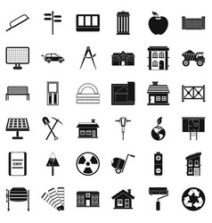 Building icons set simple style vector
