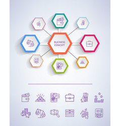 business concept icons on vector image vector image