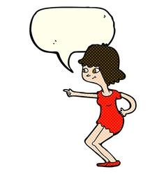 Cartoon girl pointing with speech bubble vector