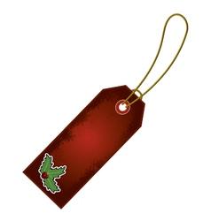 christmas holly cartoon gift tag vector image vector image