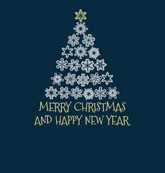 christmas tree created from snowflakes with text vector image vector image