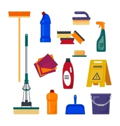 Cleaning service set house cleaning tools icons vector