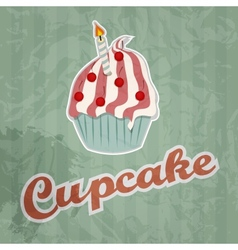 cupcake retro background vector image vector image