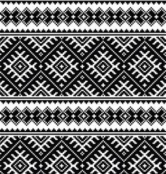Folk art black seamless pattern on white vector