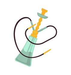 Glass hookah with two pipes and golden bowl vector