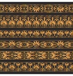 Golden antique borders on the dark brown vector