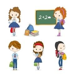 Group of School Children vector image vector image
