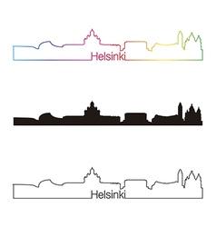 Helsinki skyline linear style with rainbow vector image