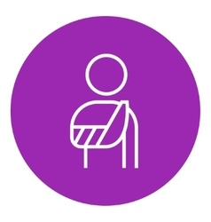 Injured man line icon vector