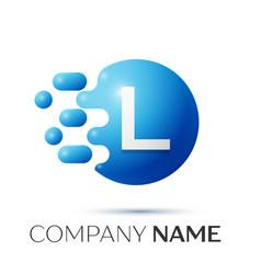 L letter splash logo blue dots and circle bubble vector