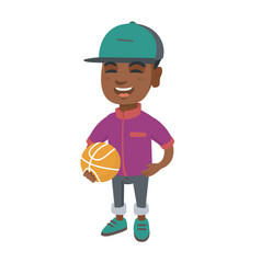 laughing schoolboy holding a basketball ball vector image vector image