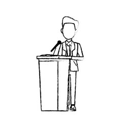Man in suit politician stands at tribune with vector