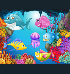 many sea animals in the ocean vector image vector image