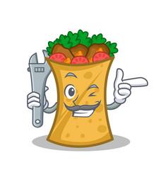 Mechanic kebab wrap character cartoon vector