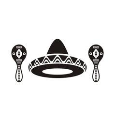 Mexican sombrero and maracas vector