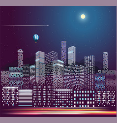 Modern city life in the night city buildings in vector