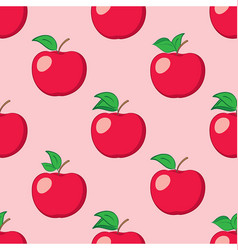 Rosy seamless background with red apples vector