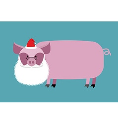 Santa Claus Pig Farm animal with beard and vector image
