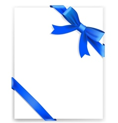 Shiny blue satin ribbon on white background vector image vector image