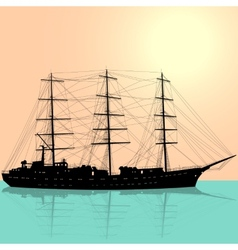 Ship sailing boat silhouette isolated on white vector image vector image