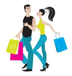 shopping girl and boy vector image vector image