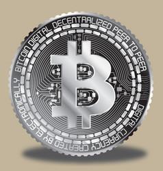 Silver bitcoin vector