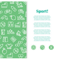 sports and fitness banner template with line icons vector image vector image