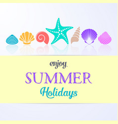 summer holidays card with sea shells vector image
