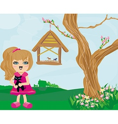 sweet girl and her cat vector image
