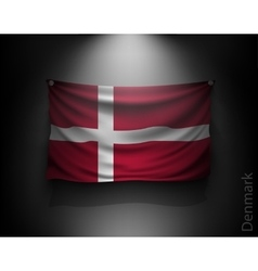 waving flag denmark on a dark wall vector image vector image
