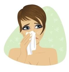 Woman sneezing into her handkerchief vector