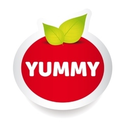 Yummy food label vector