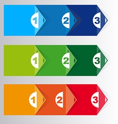 Set of three version paper progress steps vector