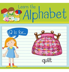Flashcard letter Q is for quilt vector image
