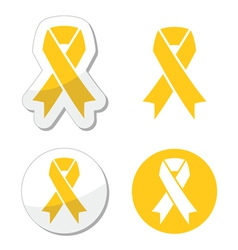 Yellow ribbon - support for troops suicide symbol vector