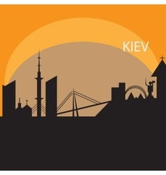 Kiev skyline in orange background vector image