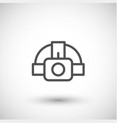 Head flashlight line icon vector