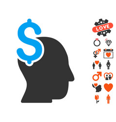 Commercial intellect icon with lovely bonus vector