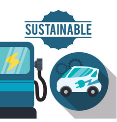 Sustainable car gas ecology vector