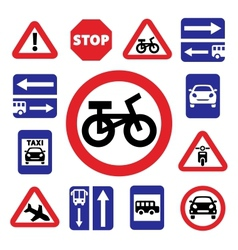 Color auto traffic signs vector