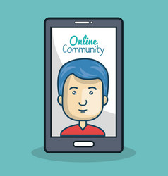 cartoon man and smartphone online community vector image